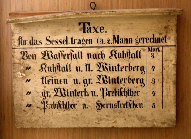 Preise für doe Sesseltaxe in Bad Schandau
