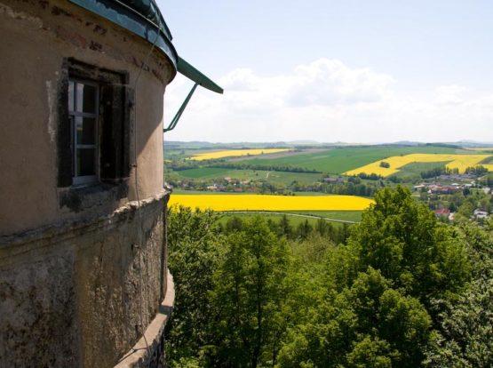 Turm und Rapsfelder