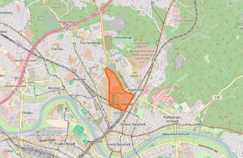 Das Hechtviertel findest du westlich der äußeren Neustadt